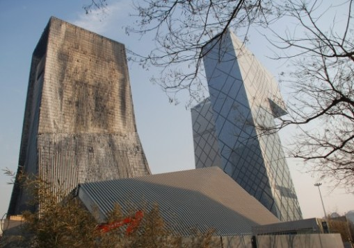 Fire damage at TVCC in Beijing.  Architect Rem Koolhaas